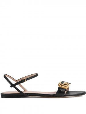 Сандалии с логотипом Double G Gucci. Цвет: черный
