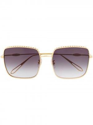 Массивные солнцезащитные очки с кристаллами Chopard Eyewear. Цвет: золотистый