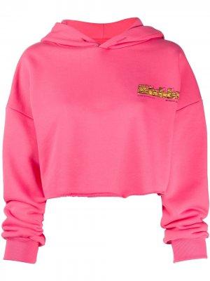 Укороченное худи с вышитым логотипом MISBHV. Цвет: розовый
