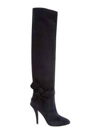 Черные замшевые ботфорты на каблуке с бантами VALENTINO GARAVANI. Цвет: черный