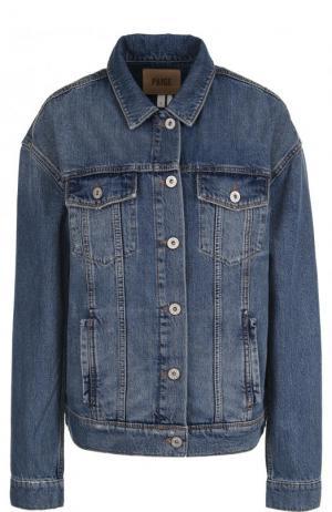 Джинсовая куртка свободного кроя с потертостями Paige. Цвет: синий