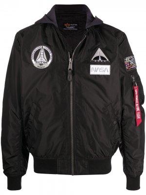 Куртка MA-1 TT NASA с капюшоном Alpha Industries. Цвет: черный