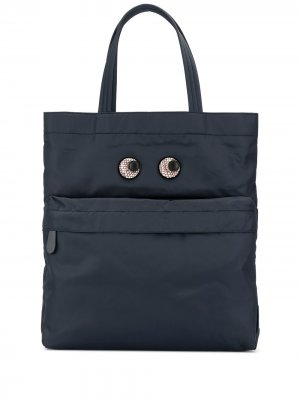 Большая сумка-тоут Eyes Anya Hindmarch. Цвет: синий