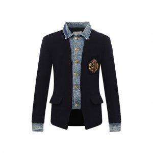 Шерстяной пиджак Greg Lauren. Цвет: синий
