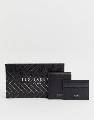 Подарочный набор из черного кожаного кошелька и кредитницы Ted Baker. Цвет: черный