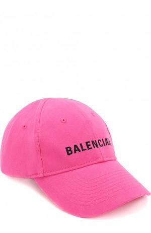 Хлопковая бейсболка с логотипом бренда Balenciaga. Цвет: фуксия