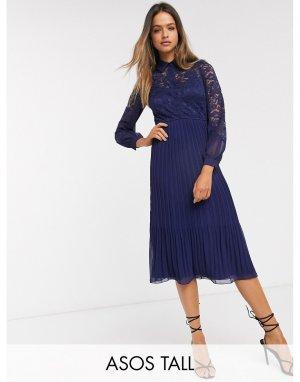 Темно-синее кружевное платье-рубашка -Темно-синий Little Mistress Tall
