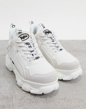Белые кроссовки из экокожи со вставками с логотипом Cloud Chai-Белый Buffalo