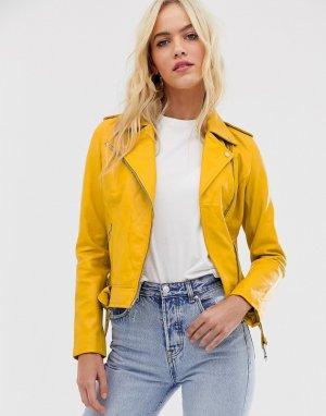 Желтая кожаная байкерская куртка -Желтый Barneys Originals