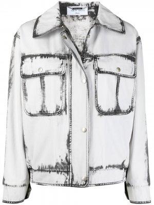 Джинсовая куртка с принтом тай-дай Alberta Ferretti. Цвет: белый