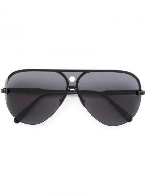 Солнцезащитные очки-авиаторы в полуоправе Philipp Plein. Цвет: черный