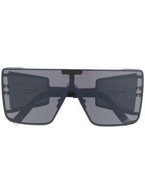Солнцезащитные очки в массивной оправе Balmain Eyewear. Цвет: черный
