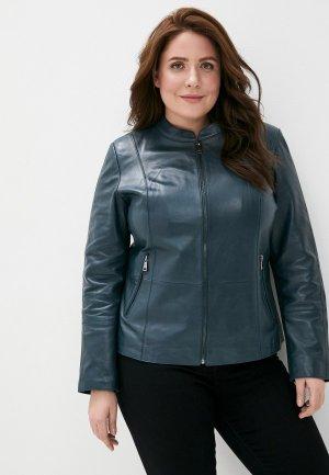 Куртка кожаная Le Monique. Цвет: бирюзовый