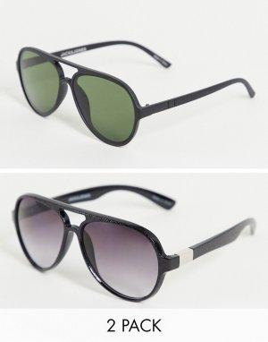 Набор из 2 солнцезащитных очков черного цвета -Черный цвет Jack & Jones