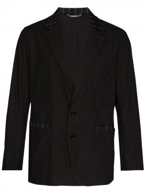 Однобортный пиджак с полосками Dolce & Gabbana. Цвет: черный