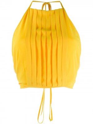 Укороченный топ с плиссировкой Irina Schrotter. Цвет: желтый