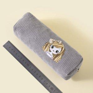 Сумка-карандаш с принтом девушки SHEIN. Цвет: светло-серый