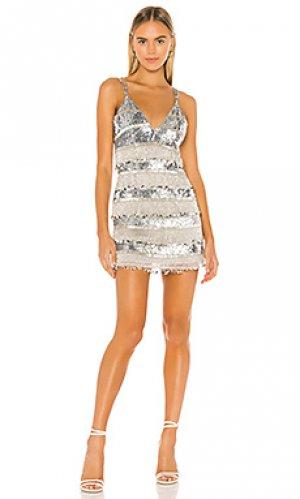 Украшенное платье felix NBD. Цвет: металлический серебряный