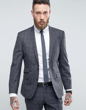 Серый узкий пиджак в клетку Ben Sherman. Цвет: серый