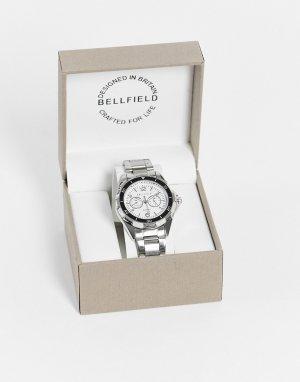 Мужские часы с серебристым браслетом и белым циферблатом -Серебристый Bellfield
