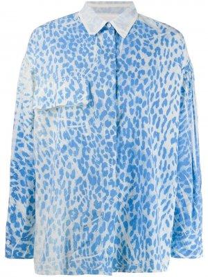 Рубашка с леопардовым принтом 8pm. Цвет: синий