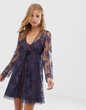 Кружевное кимоно для сна -Темно-синий Lingadore