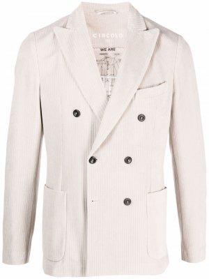 Двубортный пиджак в тонкую полоску Circolo 1901. Цвет: нейтральные цвета