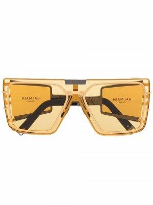 Солнцезащитные очки в квадратной оправе Balmain Eyewear. Цвет: золотистый