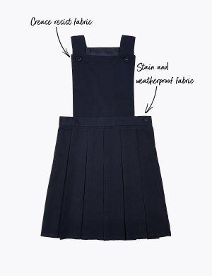 Школьный сарафан на пуговицах для девочки с перманентными складками Marks & Spencer. Цвет: темно-синий