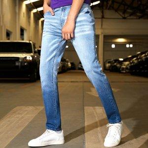 Мужской Зауженные джинсы омбре SHEIN. Цвет: легко-синий