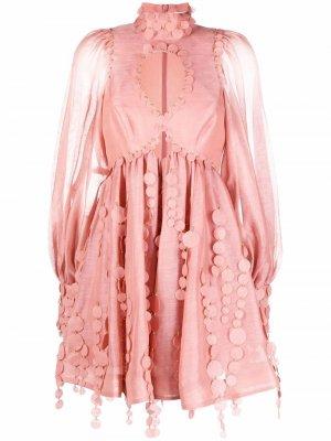 Декорированное платье мини Concert ZIMMERMANN. Цвет: розовый