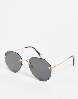 Женские круглые солнцезащитные очки в золотистой оправе -Золотистый AJ Morgan