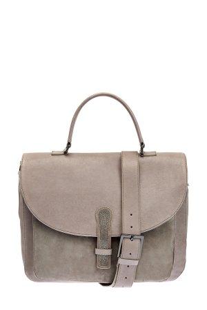 Сумка-портфель из мягкой мерейной кожи с замшевыми деталями LORENA ANTONIAZZI. Цвет: бежевый