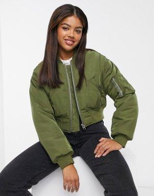 Укороченная куртка-бомбер цвета хаки -Зеленый ASOS DESIGN