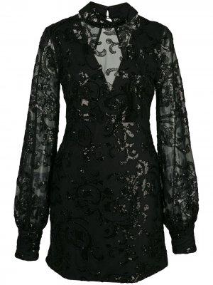 Декорированное платье мини Franciska Alexis. Цвет: черный