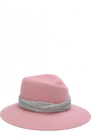 Фетровая шляпа Virginie с декоративной лентой Maison Michel. Цвет: розовый