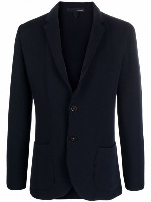 Однобортный пиджак строгого кроя Lardini. Цвет: синий