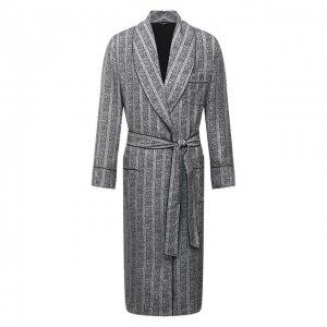 Шелковый халат Dolce & Gabbana. Цвет: серый
