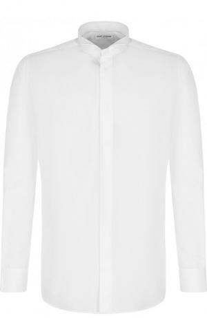 Хлопковая сорочка под смокинг с воротником бабочка Saint Laurent. Цвет: белый