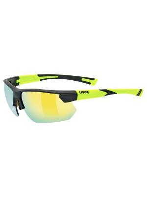 Солнцезащитные очки Uvex. Цвет: черный, желтый
