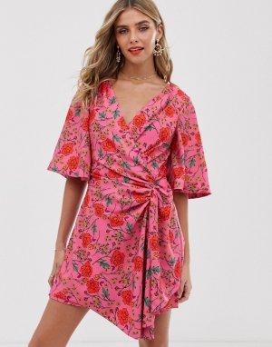 Платье мини с запахом и цветочным принтом Finders Keepers