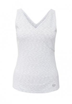 Майка спортивная Wilson W Striated Wrap Tank. Цвет: серый