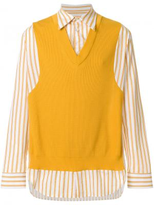 Рубашка в полоску с жилеткой Maison Margiela. Цвет: желтый