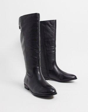 Черные кожаные высокие сапоги для верховой езды -Черный ALDO