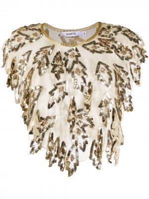 Декорированная укороченная блузка Amen. Цвет: золотистый