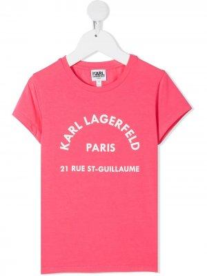 Футболка с логотипом Rsg Address Karl Lagerfeld Kids. Цвет: розовый