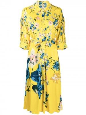 Платье-рубашка с цветочным принтом Antonio Marras. Цвет: желтый