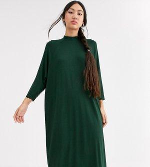Темно-зеленое платье-футболка миди -Зеленый Monki