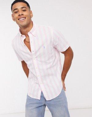 Розово-белая рубашка в полоску из поплина с короткими рукавами и логотипом -Розовый Polo Ralph Lauren