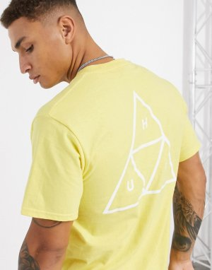 Желтая футболка с принтом треугольников Essentials-Синий HUF